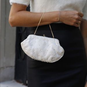 La Regale vintage pearl beaded mini bag on a chain